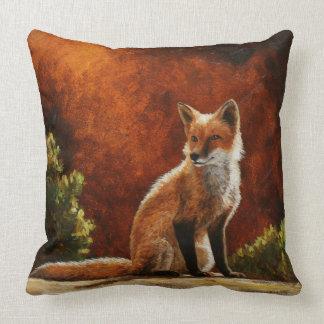 Cute Red Fox Sitting In The Sun Cushion