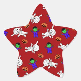 Cute red Frankenstein mummy pumpkins Star Sticker