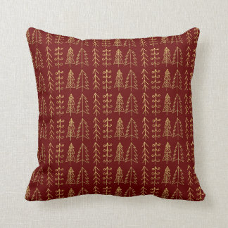 Cute Red Gold Christmas Trees Pattern Modern Cushion