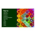 Cute Red Green Abstract Mosaic Pack Of Standard Business Cards
