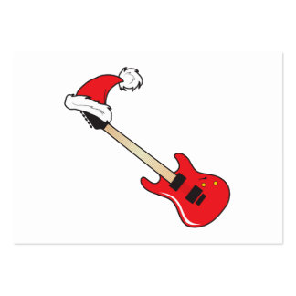 Cute Red Guitar Santa Hat Invitation Stamp Labels Pack Of Chubby Business Cards