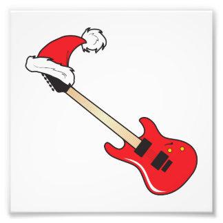 Cute Red Guitar Santa Hat Invitation Stamp Labels Photo Art