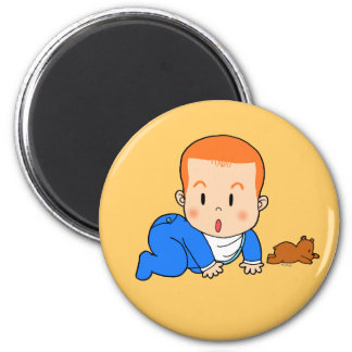 Cute red-haired baby 6 cm round magnet