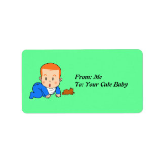 Cute red-haired baby address label