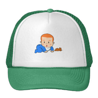 Cute red-haired baby trucker hat