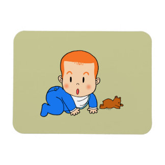 Cute red-haired baby rectangular photo magnet