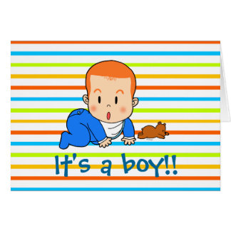 Cute red-haired baby greeting card
