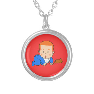 Cute red-haired baby round pendant necklace