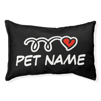 Cute red heart dog bed | personalizable pet name
