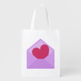 Cute red heart in purple envelope reusable grocery bag