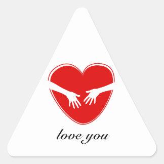 Cute Red Heart Triangle Sticker
