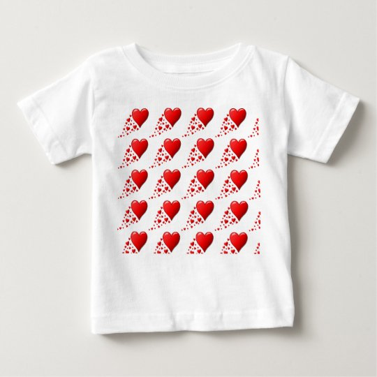 CUTE RED HEARTS Baby Fine Jersey T-Shirt, White