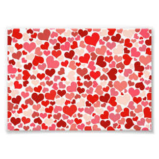Cute Red Hearts Background Photo Print