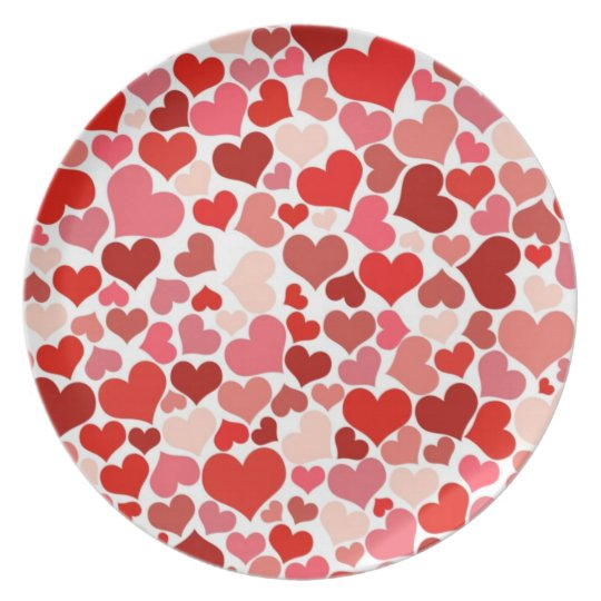 Cute Red Hearts Background Plate
