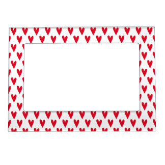 Cute Red Hearts Pattern | Valetine's Day Magnetic Picture Frame