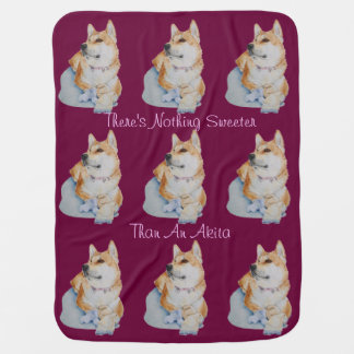 cute red Japanese akita dog portrait realist art Buggy Blanket