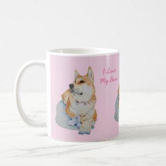 cute red Japanese akita dog portrait realist art Basic White Mug