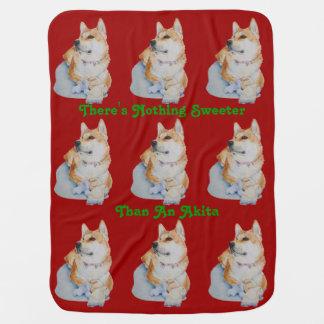 cute red Japanese akita dog portrait realist art Buggy Blankets