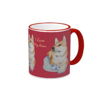 cute red Japanese akita dog portrait realist art Ringer Mug