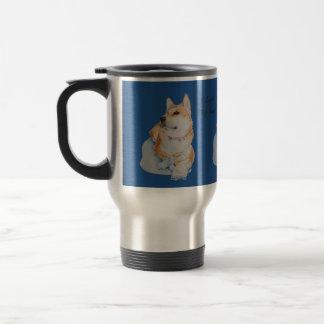 cute red Japanese akita dog portrait realist art Stainless Steel Travel Mug