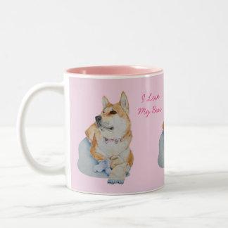 cute red Japanese akita dog portrait realist art Two-Tone Mug