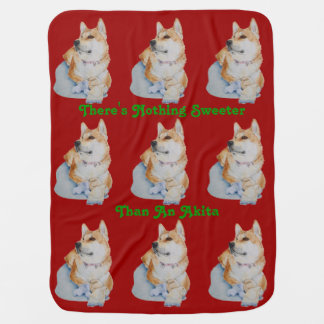 cute red Japanese akita dog portrait realist art Swaddle Blankets