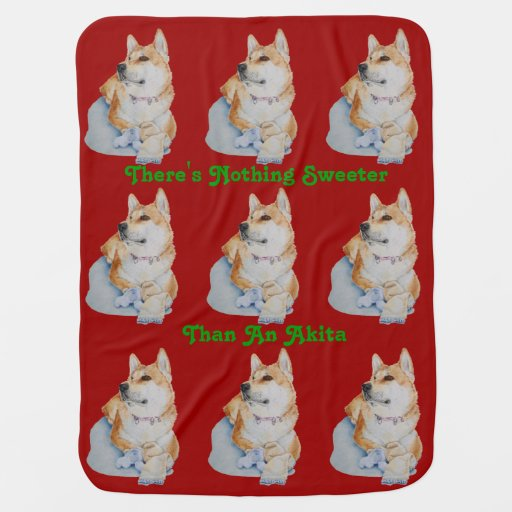 cute red Japanese akita dog portrait realist art Swaddle Blankets
