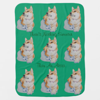 cute red Japanese akita dog portrait realist art Baby Blankets