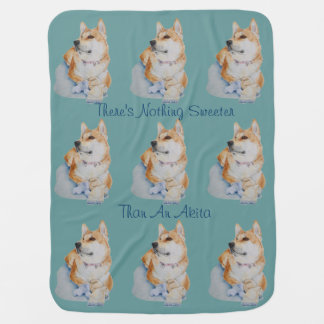 cute red Japanese akita dog portrait realist art Receiving Blanket