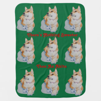 cute red Japanese akita dog portrait realist art Baby Blanket