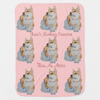 cute red Japanese akita dog portrait realist art Swaddle Blanket