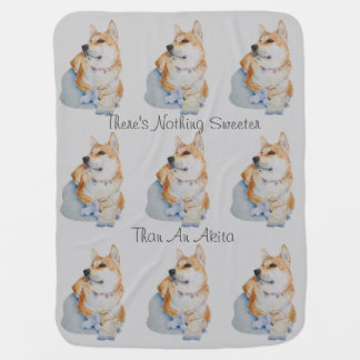 cute red Japanese akita dog portrait realist art Stroller Blanket