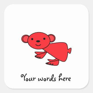 Cute red koala square sticker