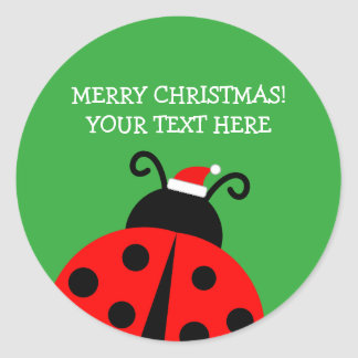 Cute red ladybird Christmas custom Holiday favor Classic Round Sticker