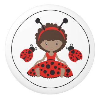Cute Red Ladybug Girl Ceramic Knob