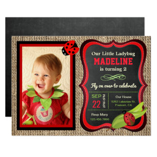 Cute Red Ladybug Kids Birthday Party Photo Invite
