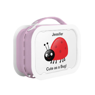 Cute Red Ladybug Name Lunch Box