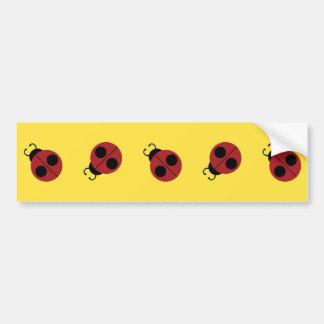Cute Red Ladybug on Yellow Background Pattern Bumper Sticker