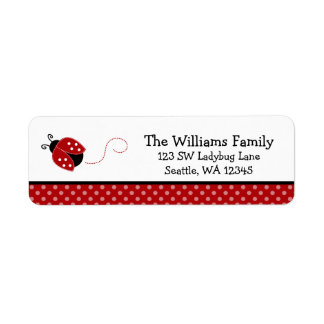 Cute Red Ladybug Polka Dot Return Address Label