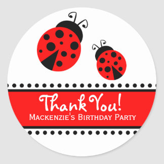 Cute Red Ladybugs Favor Label Stickers