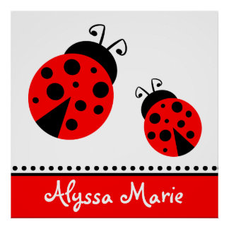 Cute Red Ladybugs Poster