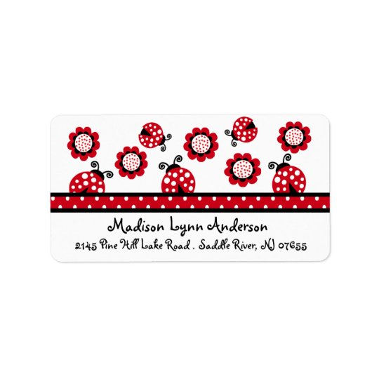 CUTE Red Ladybugs Return Address Label