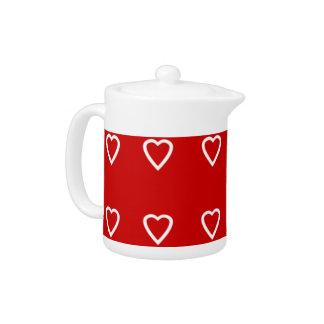 Cute Red Love hearts Teapot