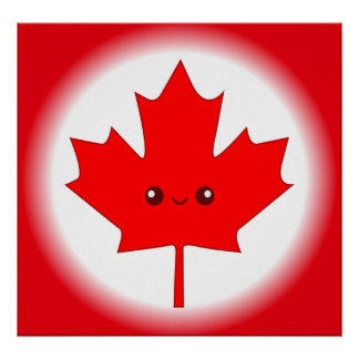 Cute Red Maple Leaf Poster