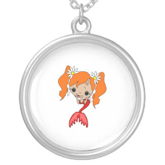 Cute Red Mermaid 3 Silver Plated Necklace