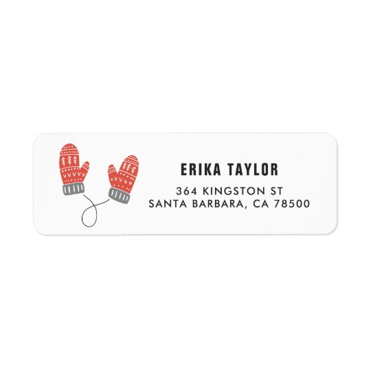Cute Red Mittens Happy Holidays Personalised Return Address Label