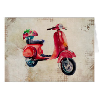 Cute Red Moped In Watercolor With Flower Basket Greeting Card