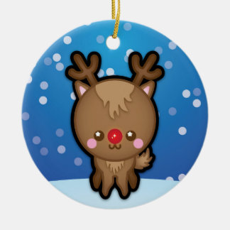 Cute Red Nosed Reindeer Christmas Tree Decoration Round Ceramic Decoration