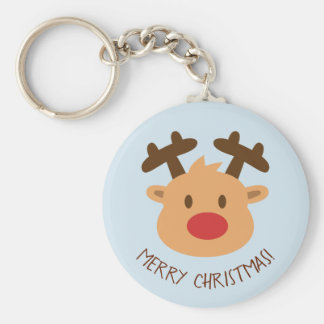 Cute Red Nosed Reindeer Merry Christmas Keychain