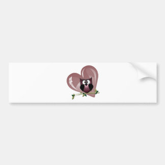 Cute Red Owl and Heart Gifts Bumper Sticker